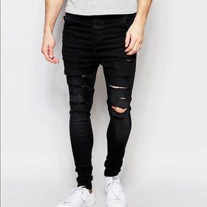 Mens SIKSILK Ripped Skinny Jeans